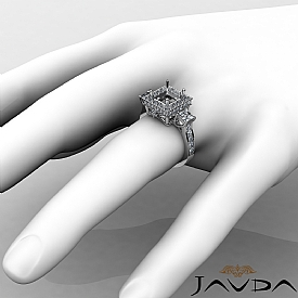 Diamond Three Stone Engagement Round Princess Ring 14k W Gold Halo Setting 1.1Ct