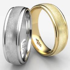 Florentine Center Polish Edge Unisex 14k Gold Yellow Wedding Band