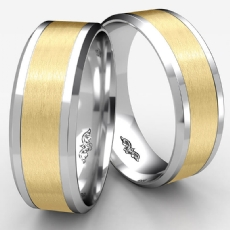 Satin Drop Beveled Edge Unisex Wedding Band Two Tone Gold