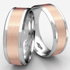 Drop Beveled Edge Satin Two Tone Gold Unisex Wedding Band
