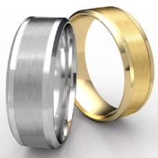 Satin Center Drop Beveled Edge Unisex Wedding Band 14k Gold Yellow