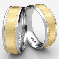 Satin Milgrain Drop Bevel Edge Men's Wedding Band 2 Tone Gold