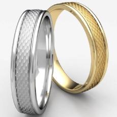 Mesh Finish Center Round Edge Unisex Wedding Band 14k Gold Yellow
