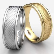 Mesh Finished Round Edge 14k Gold Yellow Unisex Wedding Band