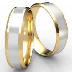 Drop Bevel Edge Polish Center 2 Tone Gold Unisex Wedding Band