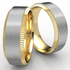 Coin Bevel Edge Satin Center 2 Tone Gold Men's Wedding Band