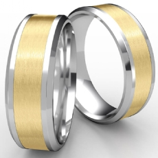 Drop Bevel Edge Satin Center Unisex Wedding Band 2 Tone Gold