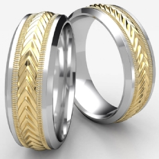Harvest Center Drop Bevel Two Tone Gold Unisex Wedding Band