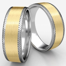 Satin Center Knurled Edge Two Tone Gold Men's Wedding Band