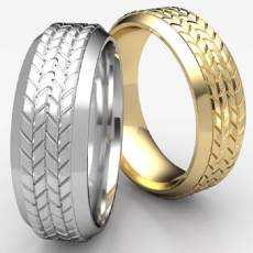 Tire Tread Pattern Bevel Edge 14k Gold Yellow Men's Wedding Band