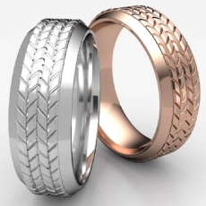 Tire Tread Pattern Bevel Edge 14k Rose Gold Men's Wedding Band