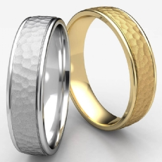 Hammered Finished Comfort Fit Unisex Wedding Band White Gold