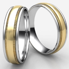 High Polish Milgrain Unisex 2 Tone Gold Carved Wedding Band