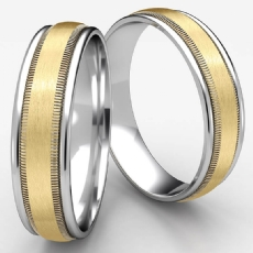 Satin Milgrain Round Edge Unisex Two Tone Gold Wedding Band