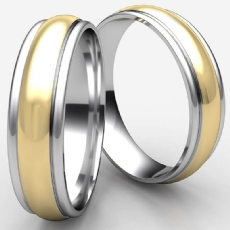 High Polished Round Edge Two Tone Gold Unisex Wedding Band