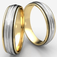 Satin Center Groove Unisex Two Tone Gold Pledge Wedding Band