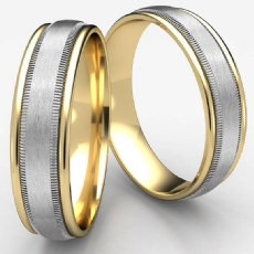 Unisex Two Tone Gold Satin Milgrain Comfort Fit Wedding Band