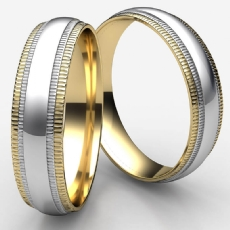 High Polish Double Milgrain Unisex 2 Tone Gold Wedding Band
