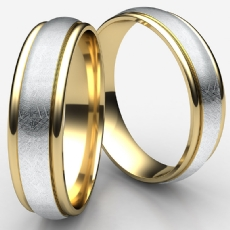 Swirl Finish Design Two Tone Gold Men's Carved Wedding Band
