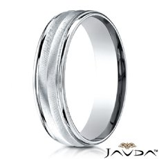 Satin Finished Chevron Design White Gold Men's Wedding Band
