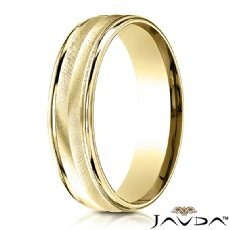Satin Finished Chevron Design 14k Gold Yellow Men's Wedding Band