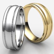 High Polished Domed Milgrain Men's 14k Gold Yellow Wedding Band