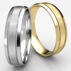 Beveled Edge Milgrain Satin Unisex 14k Gold Yellow Wedding Band