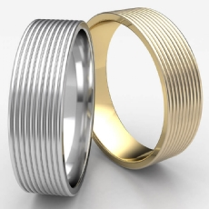 Satin Finish Threaded Pattern Unisex White Gold Wedding Band