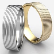 Satin Finish Threaded Pattern Unisex 14k Gold Yellow Wedding Band