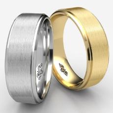 Satin Finish Drop Beveled Edge Unisex Wedding Band 14k Gold Yellow