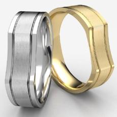 Bone Style Satin Finished Unisex 14k Gold Yellow Wedding Band