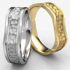 Bone Style Hammered Finished Unisex 14k Gold Yellow Wedding Band