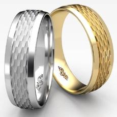 Chain Link Beveled Edge Unisex Wedding Band 14k Gold Yellow