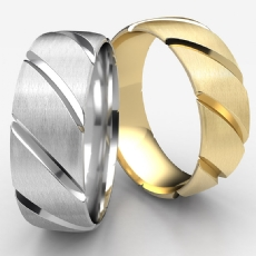 Candy Cane Satin Finished Unisex Wedding Band 14k Gold Yellow