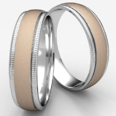 High Polish Milgrain Edge Unisex Two Tone Gold Wedding Band