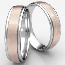 Satin Center Polished Edge Unisex Two Tone Gold Wedding Band