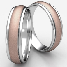 Wire Finish Center Polish Edge 2 Tone Gold Mens Wedding Band