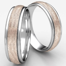 Swirl Finish Center Polish Edge 2 Tone Gold Wedding Band Men