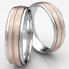 Satin Center Cut Polish Edge Unisex Wedding Band 2 Tone Gold