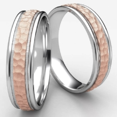 2 Tone Gold Hammered Milgrain Polish Edge Unisex Wedding Band