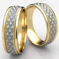Cross Hatch Rope Polish Edge Unisex 2 Tone Gold Wedding Band