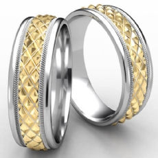 Cross Hatch Rope Round Edge Wedding Band Unisex Two Tone Gold