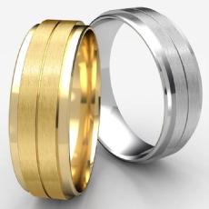 Satin Center Drop Beveled Edge 14k Gold Yellow Men's Wedding Band