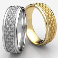 Cross Hatch Rope Polished Edge Unisex 14k Gold Yellow Wedding Band