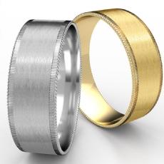 Satin Milgrain Rivet Edge Men's 14k Gold Yellow Wedding Band