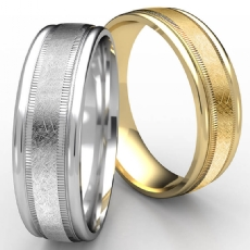 Swirl Finish Milgrain Round Edge Men Wedding Band White Gold