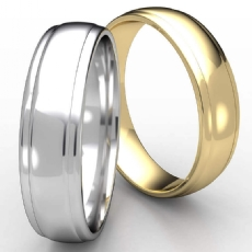 High Polished Finish Drop Edge Men's 14k Gold Yellow Wedding Band