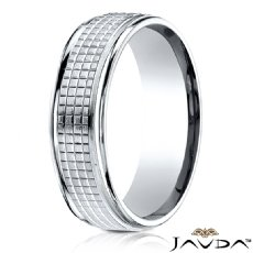 Cross Hatch Center Polish Edge Men's Wedding Band White Gold
