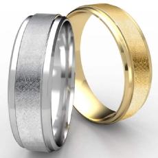 Swirl Center Drop Beveled Edge Men's 14k Gold Yellow Wedding Band