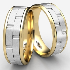 Chain Link Design Beveled Edge Mens 2 Tone Gold Wedding Band